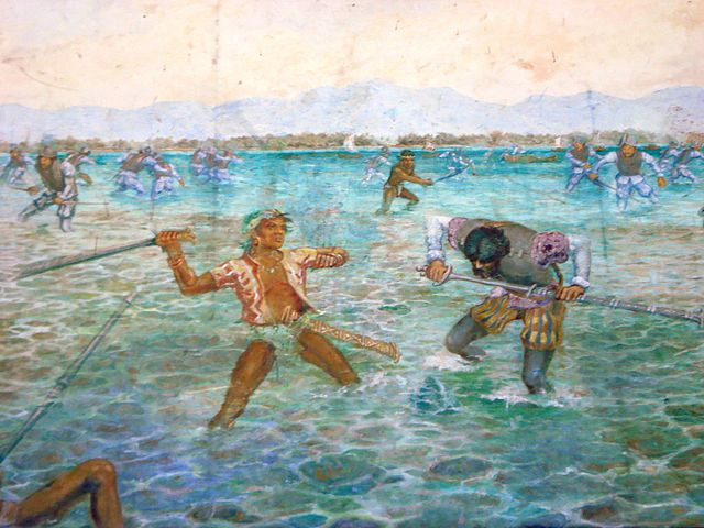 Painting of the Battle of Mactan in the Mactan Shrine (image)