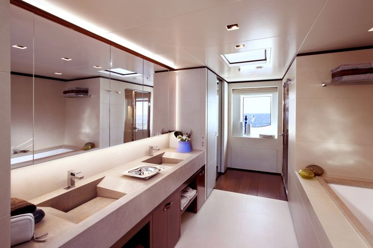 #Sanlorenzo #46Steel #Owner'sToliet. It is a 46-metre-long #superyacht with a five-deck, displacement hull, semi-wide body, high tensile steel hull, and 5083 #aluminum #superstructure. Her layout is inspired by the interior of larger superyachts to ensure onboard spaciousness and avoid any compromise in terms of comfort.
