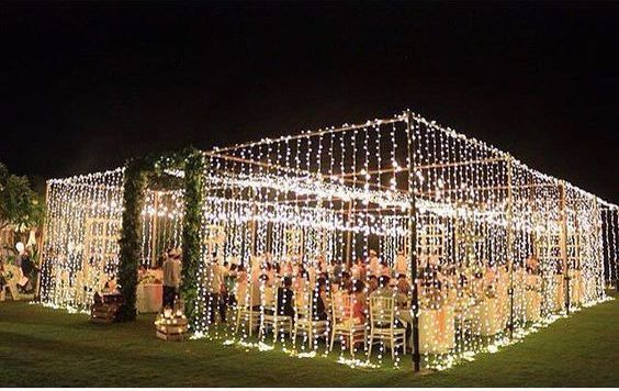 "wedding tent of lights box Box them In Create the feeling of enclosure and intimacy by creating a faux ""tent"" out of string lights. Now thisis what dreams are made of. https://www.kzndj.wedding"