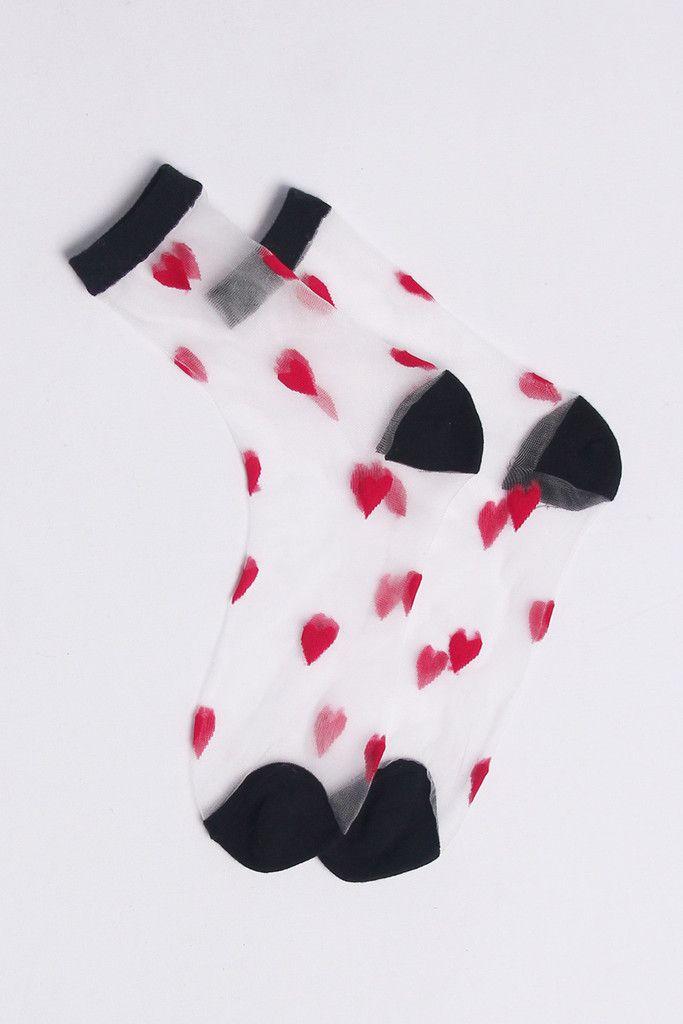 Very Goods | Sheer Heart Ankle Socks Red - THE WHITEPEPPER