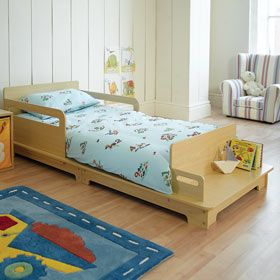The contemporary toddler bed in soft pine and functional seating. So, cute!