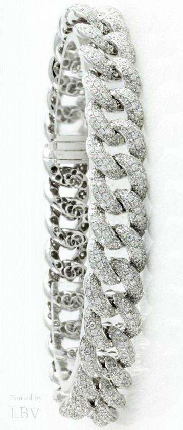 Diamonds ♥✤Cuban Link Diamond Bracelet, Mens Diamond Bracelets