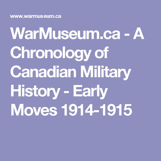 WarMuseum.ca - A Chronology of Canadian Military History - Early Moves 1914-1915