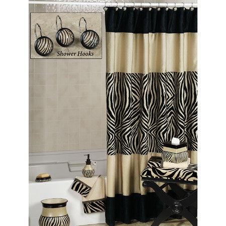 Zuma Zebra Shower Curtain And Hooks Zebra Bathroom Decoranimal Print