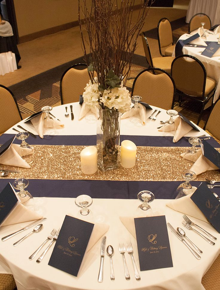 This Is What The Table Will Look Like I. White Table Cloth, Navy And Gold  Runner.