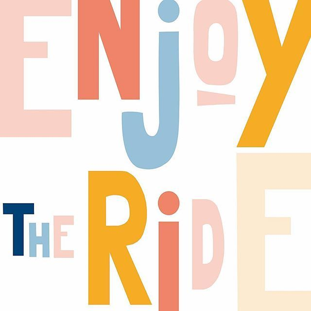 Enjoy the ride!! You can only waste time if you forget to enjoy it💪🏼 #enjoy #enjoytheride #enjoythelittlethings #illustration #colourpop #typography #typo #graphicdesign #styling #playful #dashofcolor #design #font #branding #brandstyle #style #illustrator