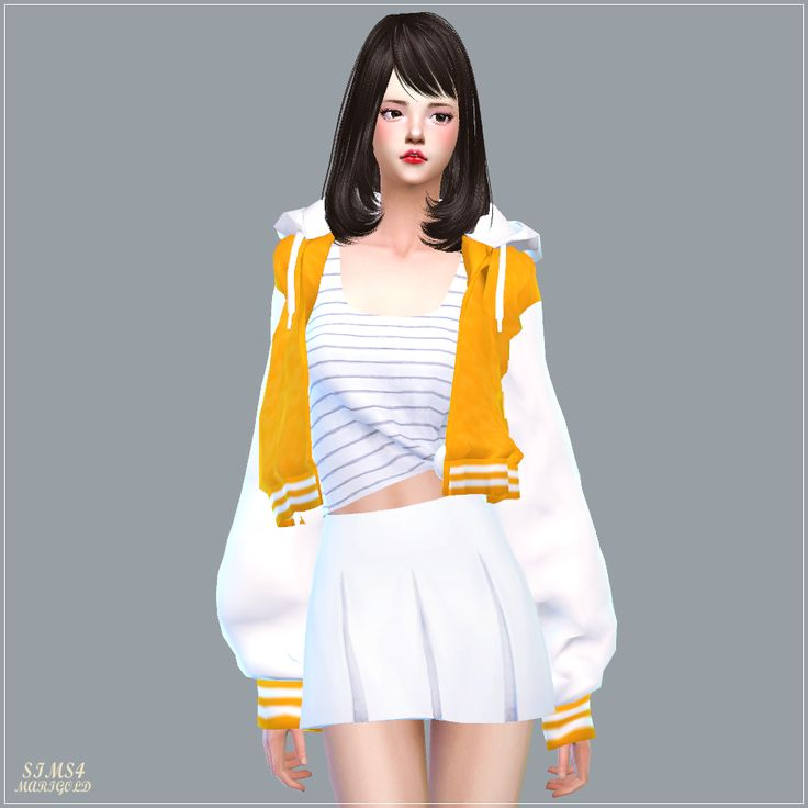 acc loosefit hood jacket short version sims4 marigold. Black Bedroom Furniture Sets. Home Design Ideas