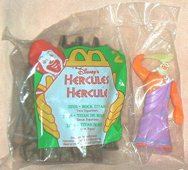 McDonald's Disney's HERCULES, ZEUS  with Rock Titan, McDonald's Premium Figures, Mint in Sealed Bag, 1996. by brotoys1 on Etsy