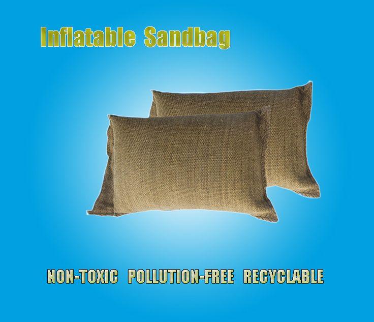 Inflatable sandbag for flood