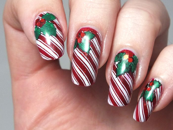 186 best nail art christmas images on pinterest nail stamping candy cane nails using bm423 prinsesfo Image collections