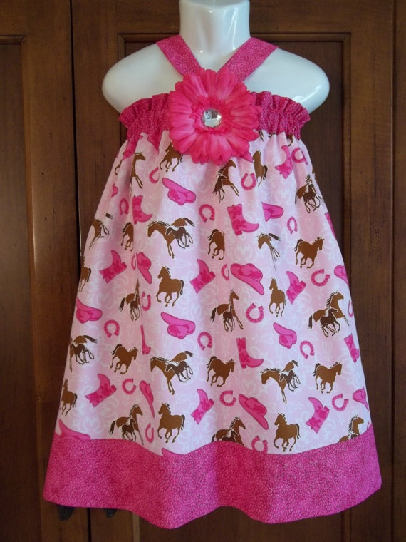 cowgirl dress pink horse Birthday western hat boots by GinaBellas1, $39.50