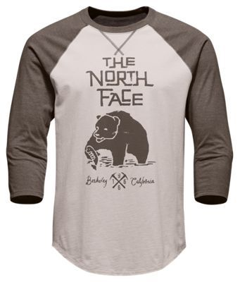 The North Face 3/4 Grizzly Baseball T-Shirt for Men - Rainy Day Ivory/Falc Brn Hthr - 2XL