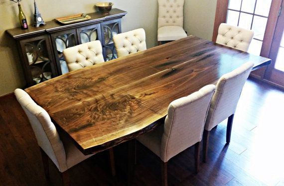 """42"""" x 84"""" CUSTOM 2-Slab Bookmatched Live Edge Walnut Dining Table with Low Profile Metal Legs"""
