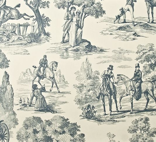 Fox Hunting Wallpaper Toile Wallpaper in cream with lead blue toile depicting hunting pursuits.