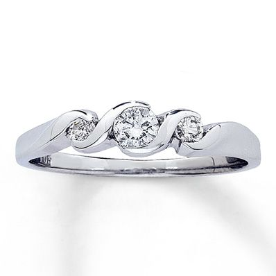 14K White Gold 1/4 Carat t.w. Diamond Ring, saw in store so beautiful.  Not worth the price though but of course I still like very much...