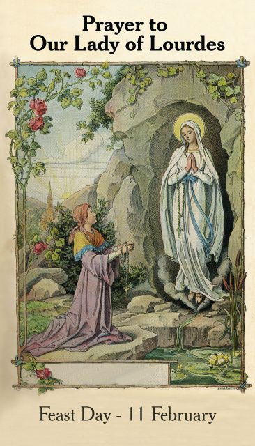 Our Lady of Lourdes Prayer Card. Click on link for many holy cards