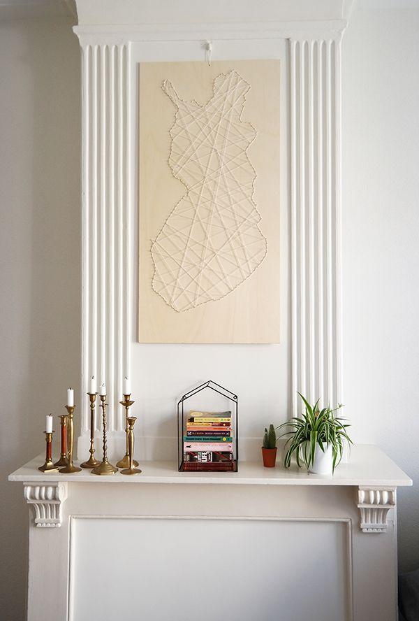 KARWEI   Maak jouw eigen kunstwerk met een plank, spijkers en touw.
