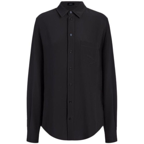 Joseph Crepe de Chine Garcon Blouse in BLACK ($395) ❤ liked on Polyvore featuring tops, blouses, black, shirts & blouses, collar blouse, slim fit shirts, button up shirts and black button up blouse
