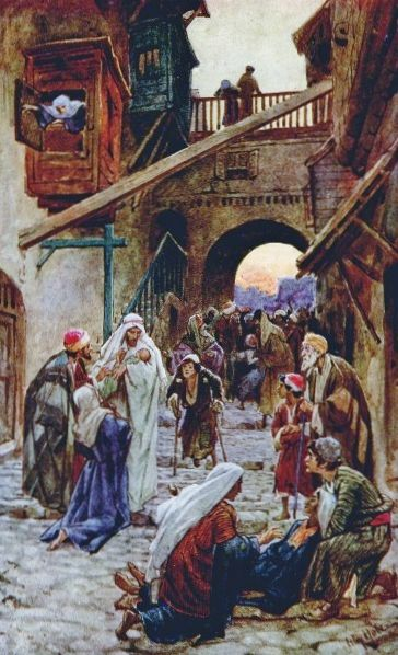 """Jesus healing the sick in Capernaum. When it was evening, they brought him many who were possessed by demons, and he drove out the spirits by a word and cured all the sick, to fulfill what had been said by Isaiah the prophet: """"He took away our infirmities and bore our diseases."""
