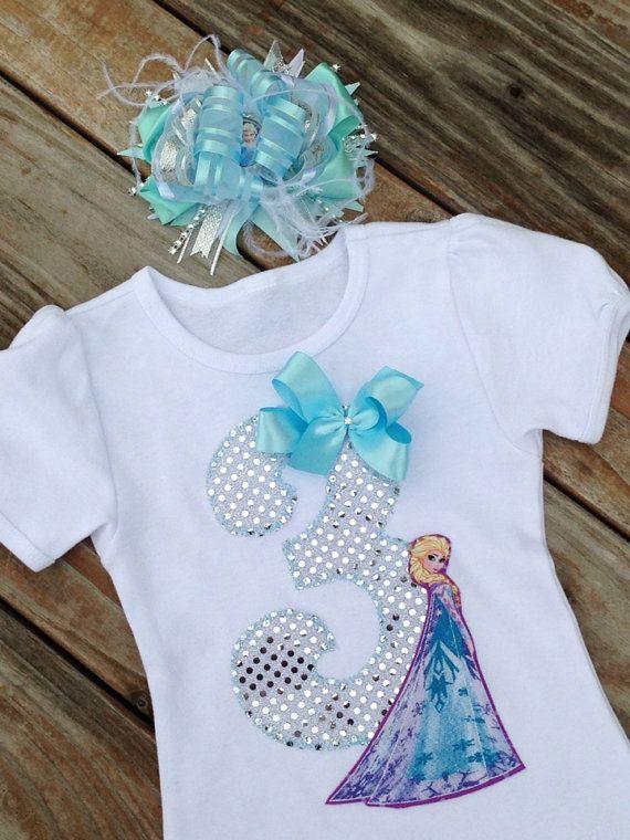 Frozen Elsa inspired birthday shirt. ELSA birthday and hair bow. FROZEN Birthday. Frozen fabric
