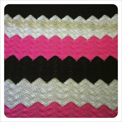 Hot Pink Zebra Afghan I crocheted for my brother's girlfriend