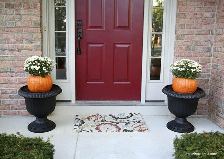 PUMPKIN POTS Simple and fun way to create a fall welcome for your entry.  Hollow out a couple of pumpkins, fill them with potting soil and plant a couple colorful mums and then place them in your planters. Easy, simple, fun!    Shopping list: Pumpkins, Mums, Potting Soil.