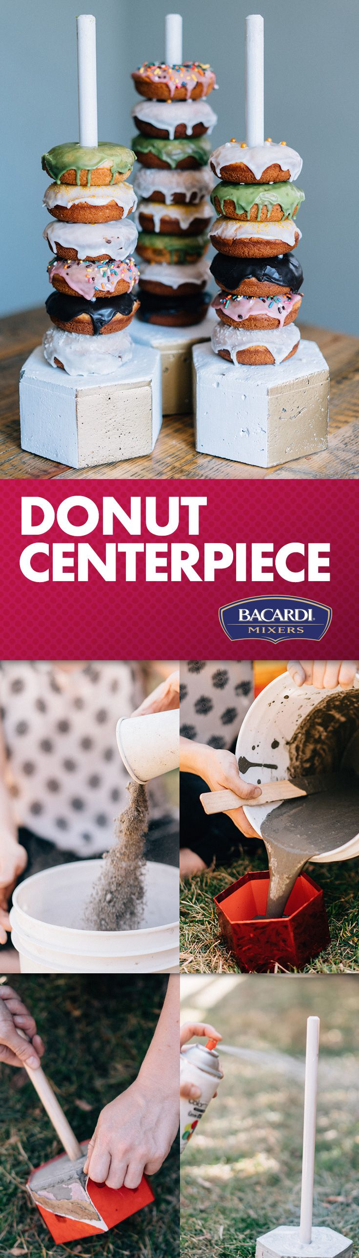 Take your brunch décor from tame to insane with this easy DIY donut centerpiece and make your appetizer the main attraction!
