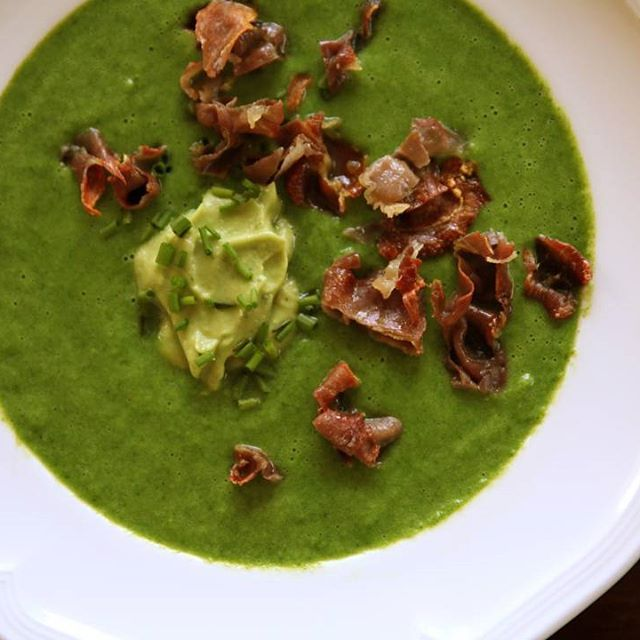 ... & SPINACH SOUP with AVOCADO CREME, CHIVES & CRISPY PROSCIUTTO More