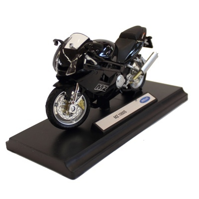 Motocicleta MZ 1000 S - 22 RON  Un cadou potrivit pentru toti pasionatii de motociclete. Macheta Motocicleta MZ 1000 S, scara 1/18, este o motocicleta de colectie confectionata din metal, avand un aspect real.