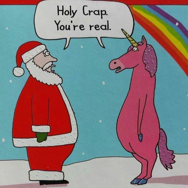 When the unicorn met Santa.