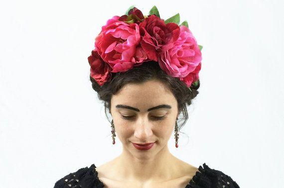 Frida Kahlo, Pink Flower Headband, Fiesta, Crown, Gypsy, Floral Headpiece, Flower Crown, Floral Crown, Corona de Flores, Boho, Flower Crown