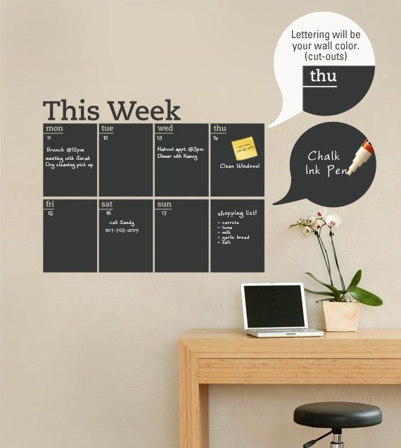 SUCH a good idea.    Weekly Planner Chalkboard Calendar - Modern Vinyl Wall Decal. $54.00, via Etsy.