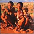 A San family in the Kalahari Desert, Northern Cape