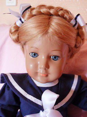 Schildkröt Puppe doll poupée blonde BRIGITTE Echthaar 46 cm Matrosenkleidchen