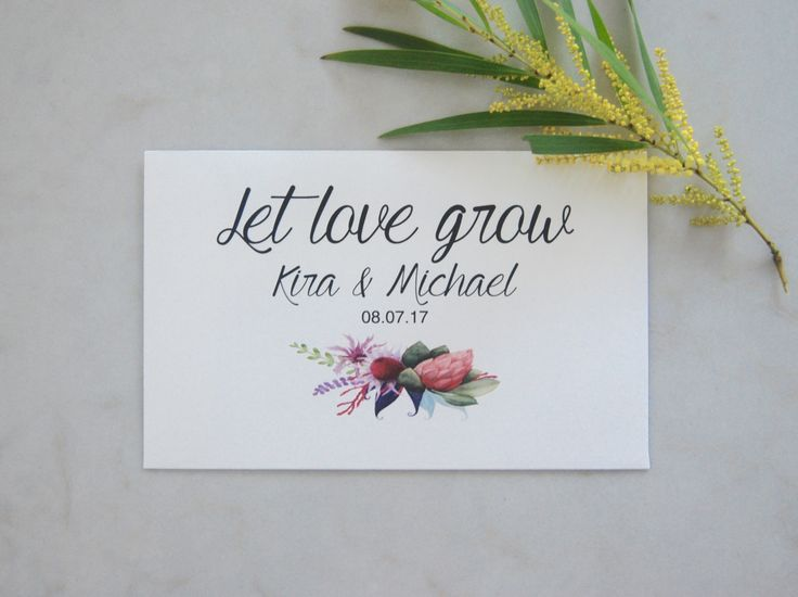 Wedding favor seeds! Personalized envelopes by your theme and your budget, with wildflower seeds inside. Let love grow wedding favor seeds. Plant this seeds and watch them bloom, just like the love of a bride and groom.All the envelopes are made by BlissWeddinsAus