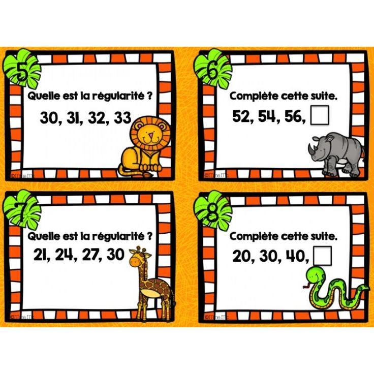 Les suites de nombres - Cartes à tâches