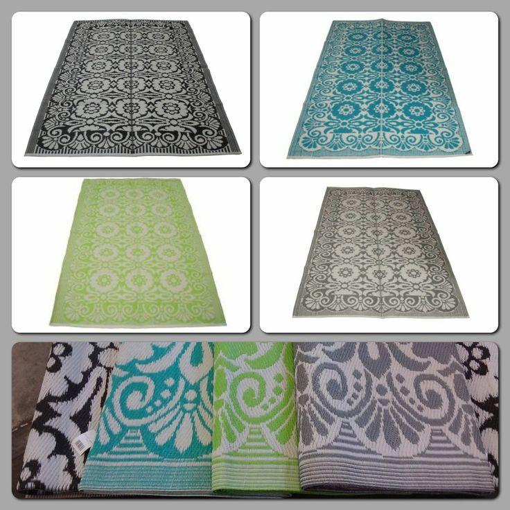 Vloerkleed van gerecycled plastic, ideaal voor op de camping, de veranda  of op het balkon! Verkrijgbaar in 4 kleuren.