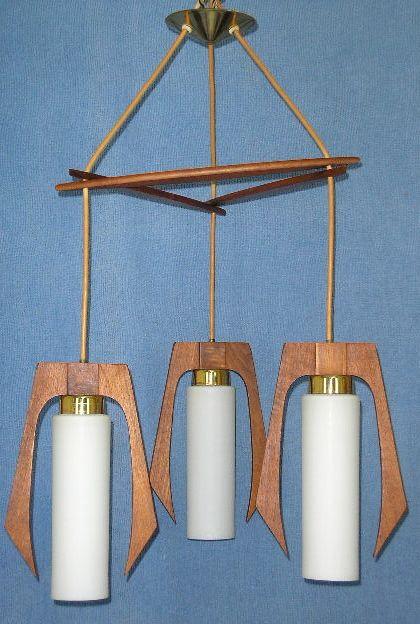 Vintage Danish modern ceiling lamp. Lampe suspendu.