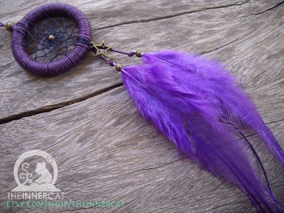Universe Star Purple Dream Catcher / Adjustable Necklace or Car Mirror Decor Charm  / Cool Summer Style / Small Hoop / Feathers / Themed dc  #Dreamcatcher #etsy #handmade #purple #necklace #car #cardecor #star #universe #astrology