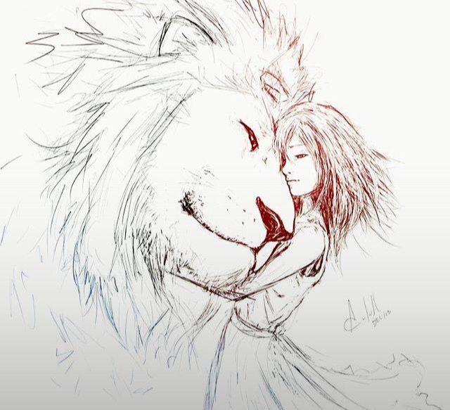 Картинка лев и девушка нарисованные карандашом