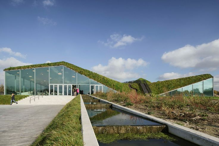 Biesbosch MuseumIsland Werkendam, The Netherlands - A large glass wall breaks up the greenery and welcomes you to the museum.