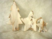 2 xStern 2x Baum Holzdeko Winter-Weihnachtsdeko