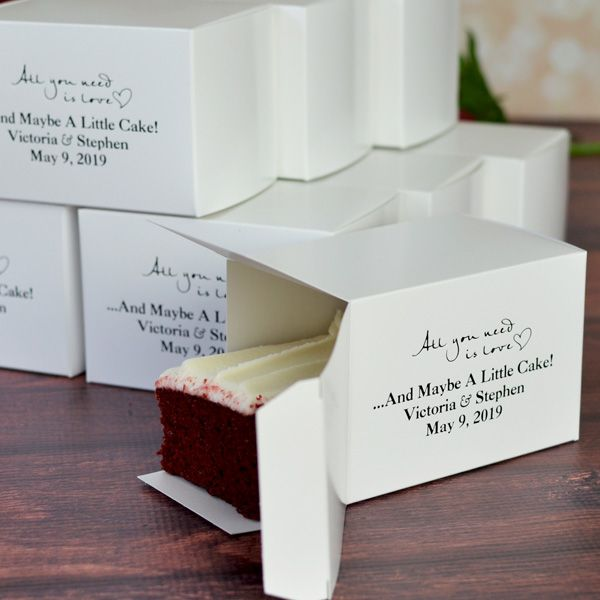White cake box printed with design END11, caslon lettering style, and ebony matte imprint