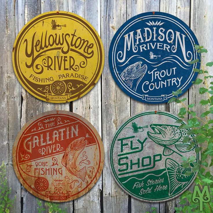 "26 Likes, 1 Comments - Montana Treasures (@montana_treasures) on Instagram:""Add these Vintage Fly Fishing signs to your collection; and, make decorating your man cave or cabin a priority this year. Montana Treasures sells unique Montana and fly fishing wall art. Metal disk art comes in 14, 28, 36, and 43 inch diameters."""