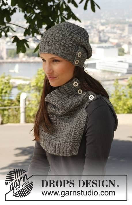 """140-40 Knitted DROPS neck warmer and hat with pattern in """"Nepal""""."""