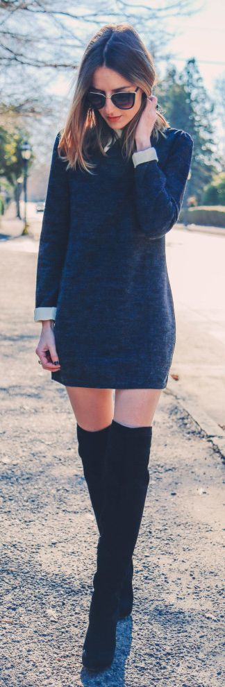 Over The Knee Boots Outfits: Jess Ann Kirby is wearing over the knee boots from Sam Edelman