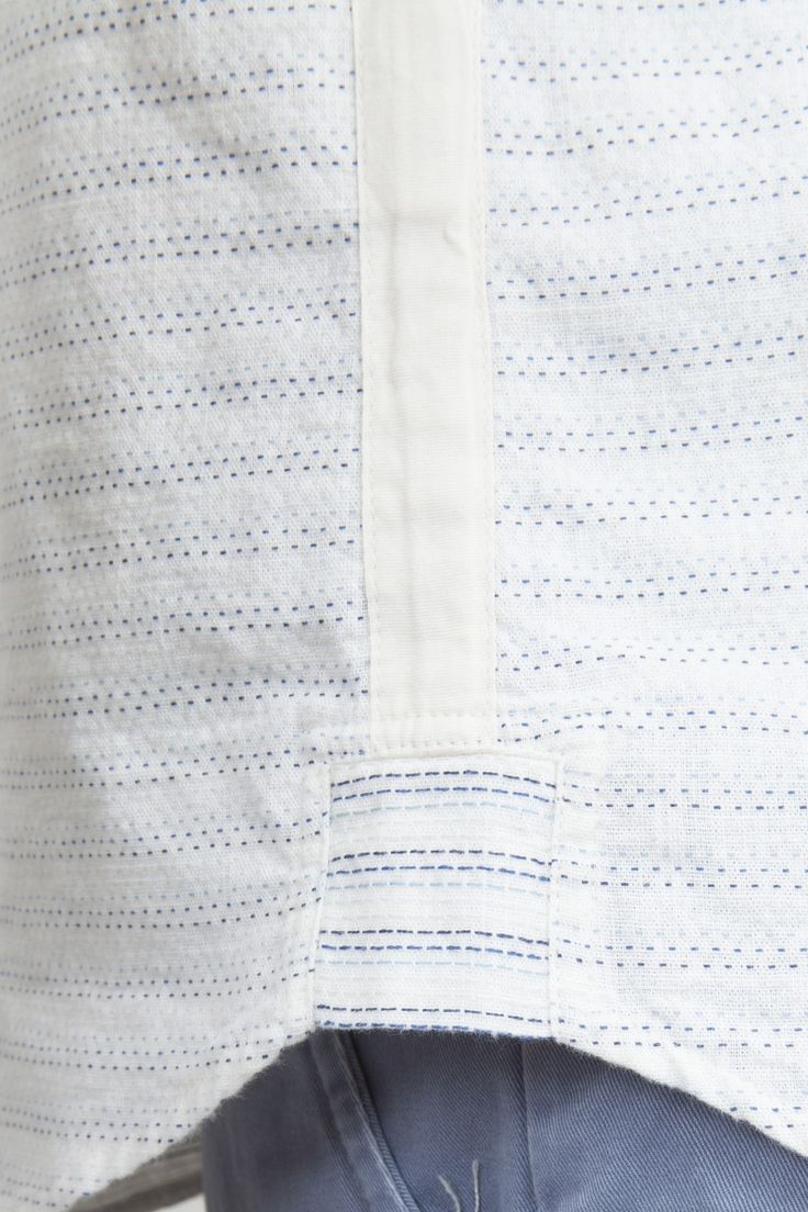 Tape Shirt - Ecru Blue Stripe   Shirting