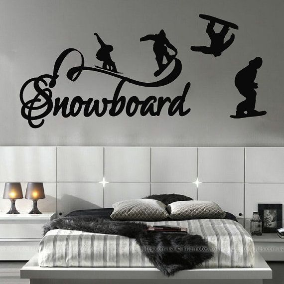 Snowboard Wall Decal Stickers Decor for Bedroom Vinyl Sports Extreme Snowboarding Nursery Kids Room Mural Art Dear Buyers, Welcome to our shop VinylDecals2U!  ★ SIZE AND COLOR ★ Approximate Item Sizes:  10 Tall x 23 Wide 16 Tall x 35 Wide 28 Tall x 61 Wide 38 Tall x 83 Wide  If this size is inappropriate for you, you can contact us and provide your dimensions and we can create for you decal of any size. ✓✓✓Please note that any changes of the decal dimensions will result in the price…