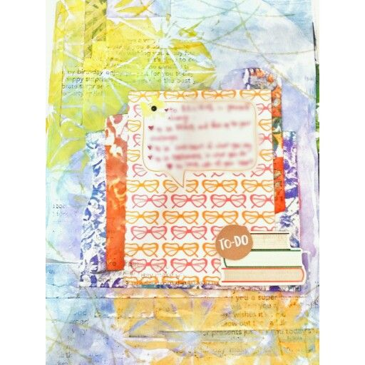 Watercolor background using ink pad stamps and colored texture paste