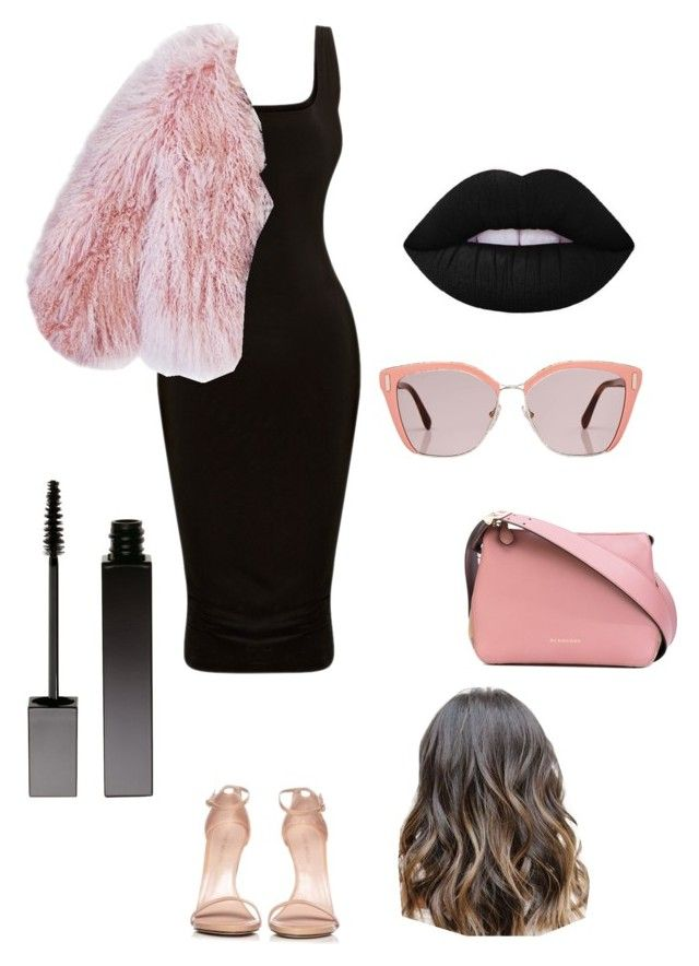 """Black and pink 🖤💖"" by marango1706 on Polyvore featuring moda, Stuart Weitzman, Burberry, Florence Bridge, Prada y Serge Lutens"